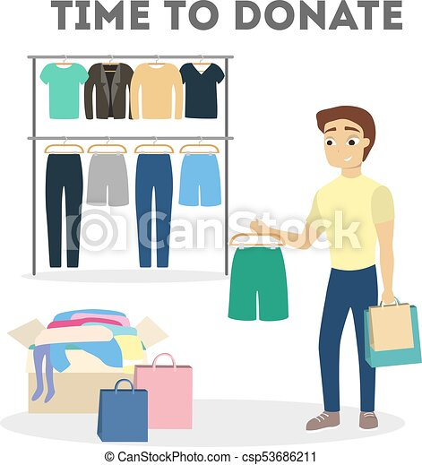 clothes donation illustration man gives clothes to charity