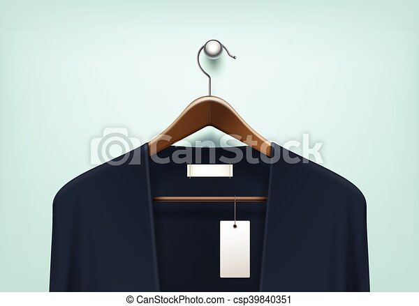 Clipart Vector of Clothes Hanger with Cardigan Blank Tag Label ...