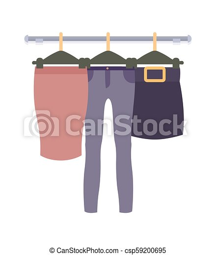 f1fd49708d09 Clothes hanging on hangers in women clothing store Vector Graphic ...