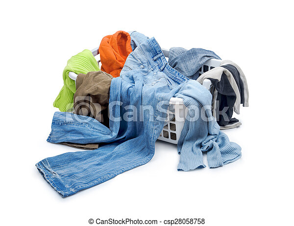 Clothes in plastic basket dropped isolated on white - csp28058758