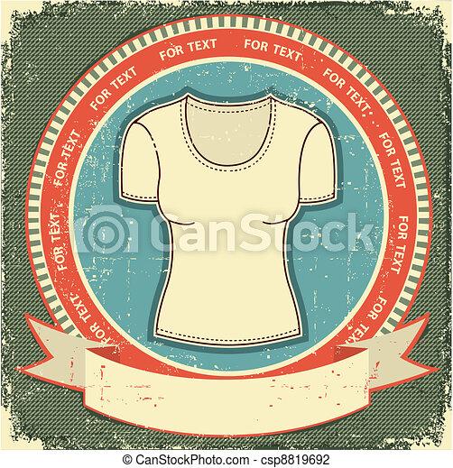 Clothes label set on vintage old paper.Vector t-shirt background - csp8819692