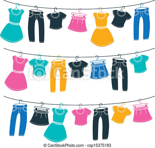 clothes on washing line - csp15375183