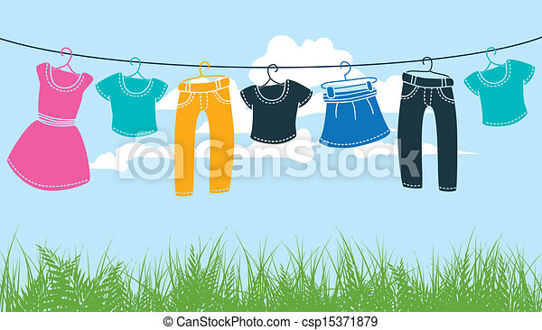 clothes on washing line - csp15371879
