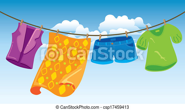 clothes on washing line - csp17459413
