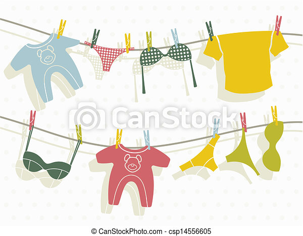 Clothes on washing line  - csp14556605