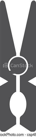 Clothes peg icon in black on a white background. Vector illustration - csp48641339