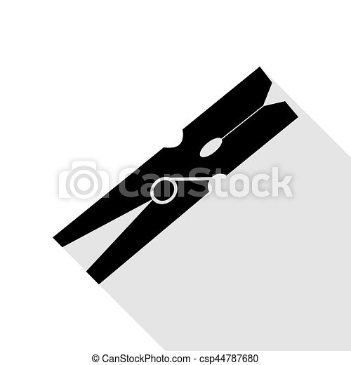 Clothes peg sign. Black icon with flat style shadow path. - csp44787680