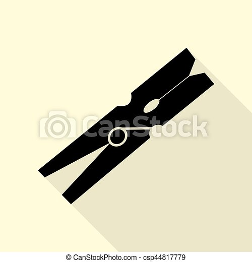 Clothes peg sign. Black icon with flat style shadow path on cream background. - csp44817779