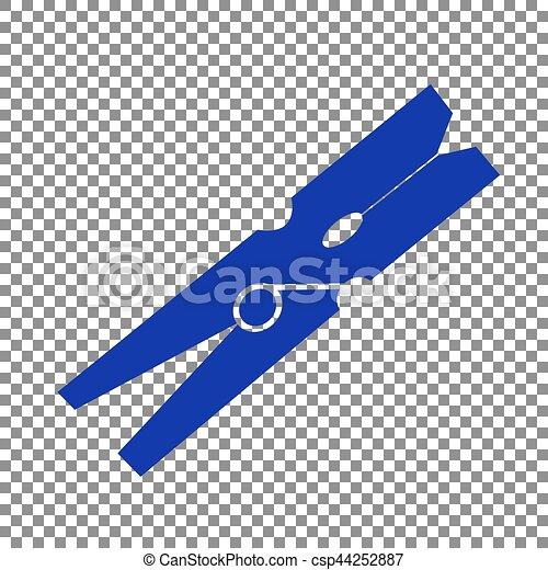 Clothes peg sign. Blue icon on transparent background. - csp44252887