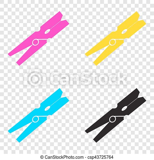 Clothes peg sign. CMYK icons on transparent background. Cyan, ma - csp43725764