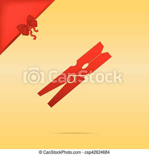 Clothes peg sign. Cristmas design red icon on gold background. - csp42624684