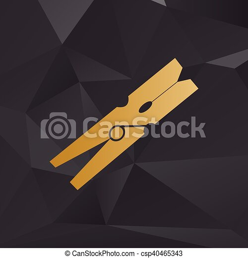 Clothes peg sign. Golden style on background with polygons. - csp40465343