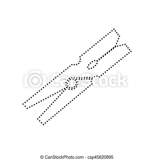 Clothes peg sign. Vector. Black dotted icon on white background. Isolated. - csp45620895