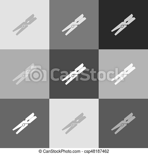 Clothes peg sign. Vector. Grayscale version of Popart-style icon. - csp48187462