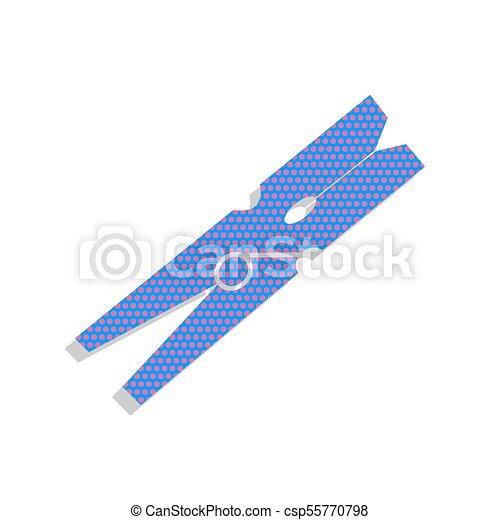 Clothes peg sign. Vector. Neon blue icon with cyclamen polka dot - csp55770798