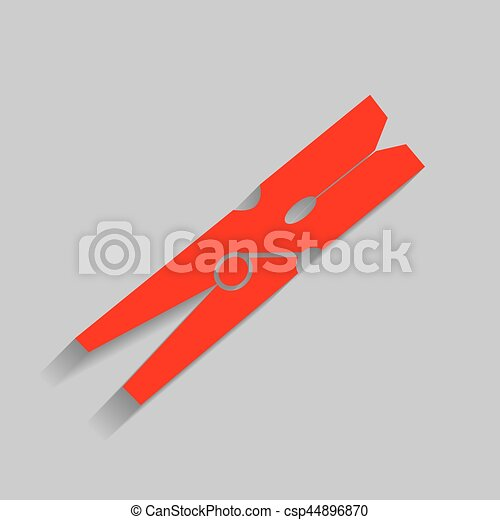Clothes peg sign. Vector. Red icon with soft shadow on gray background. - csp44896870