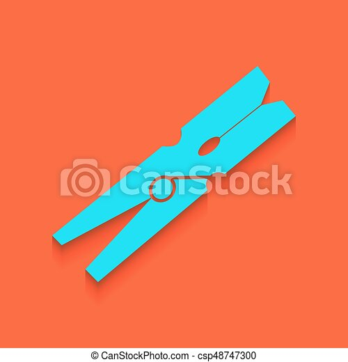 Clothes peg sign. Vector. Whitish icon on brick wall as background. - csp48747300
