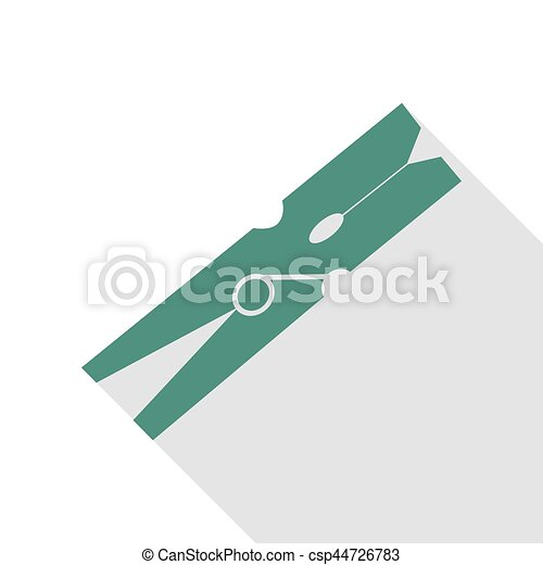 Clothes peg sign. Veridian icon with flat style shadow path. - csp44726783