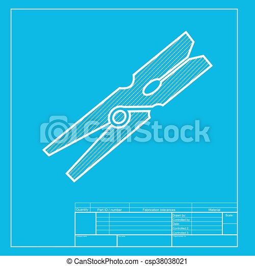 Clothes peg sign. White section of icon on blueprint template. - csp38038021