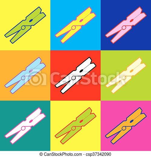Clothes peg vector icon - csp37342090