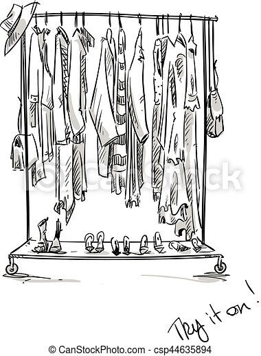 Clothes Rack Vector Illustration