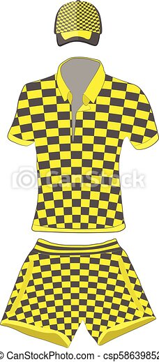 54d66b920 Clothes Set: Polo Shirt, Baseball Cap And Shorts Black And Yellow Colors.  Vector Drawing