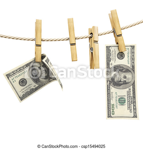Dollar bill is hanging on a rope with wooden clothespin. isolated on ...
