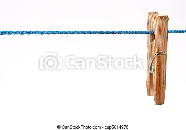 Clothespin on rope - csp5014978