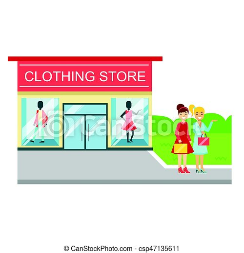 clothing store building and two smiling women with shopping bags