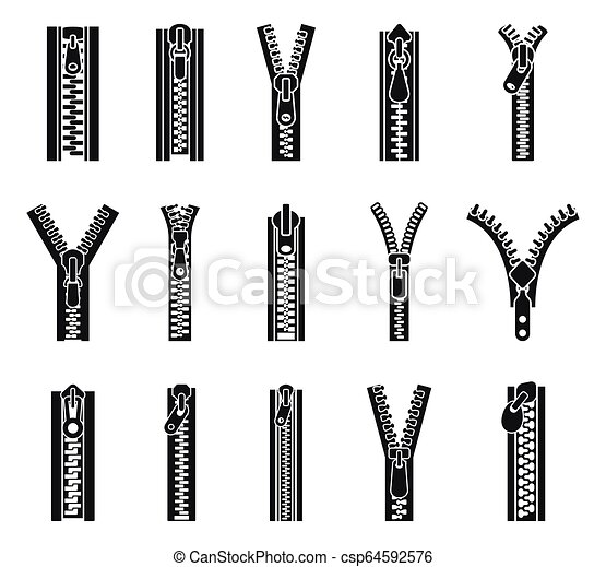 Clothing zipper icon set, simple style - csp64592576