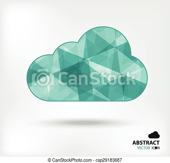 Cloud abstract vector icon geometric polygon - csp29183687