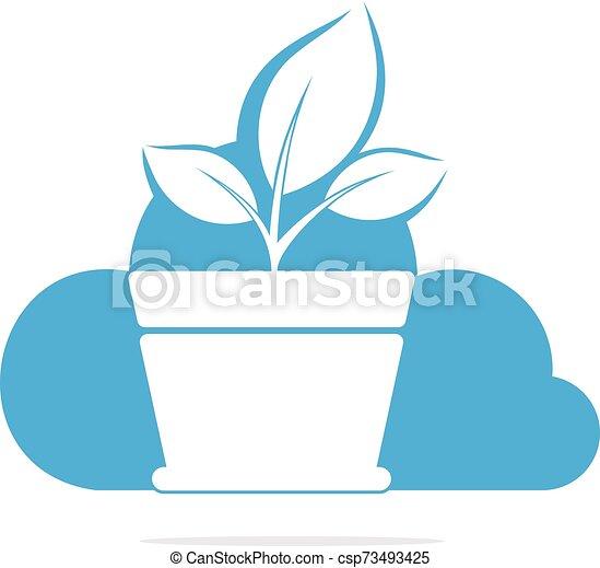 Cloud And Flower Pot Logo Design Growth Vector Logo Design Template