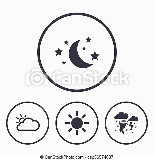 Cloud And Sun Icon Storm Symbol Moon And Stars Weather Icons