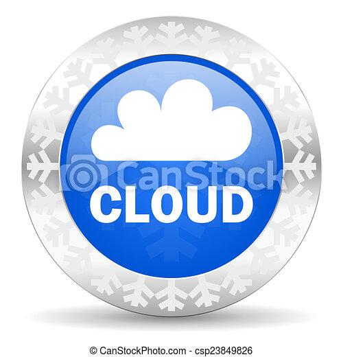 cloud blue icon, christmas button - csp23849826