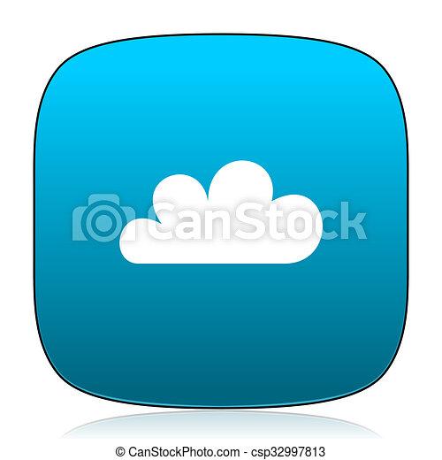 cloud blue icon - csp32997813