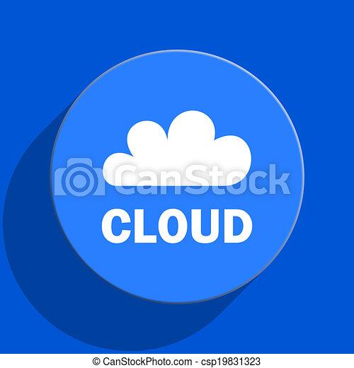 cloud blue web flat icon - csp19831323