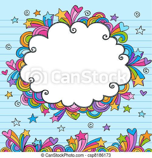 Cloud Border Frame Sketchy Doodle - csp8186173