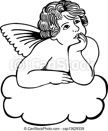 cloud cherub simple black and white illustration on a drawings rh canstockphoto com cherub clipart black and white