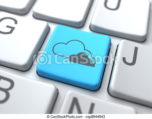 Cloud Computing- Blue Button on Keyboard. - csp8844843