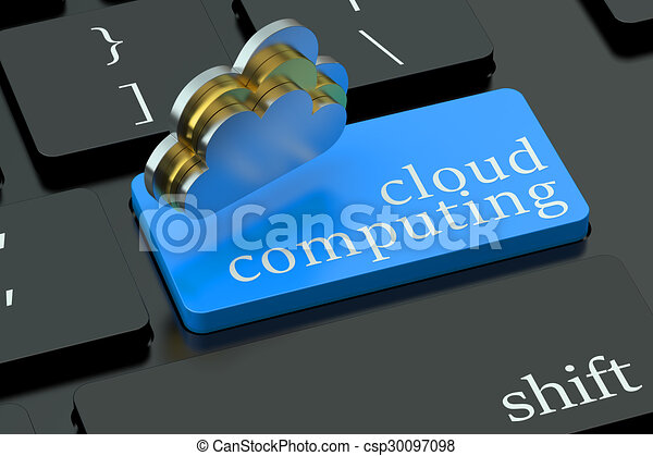 Cloud computing concept on blue keyboard button - csp30097098
