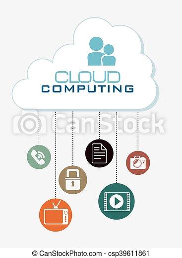 cloud computing data icon - csp39611861