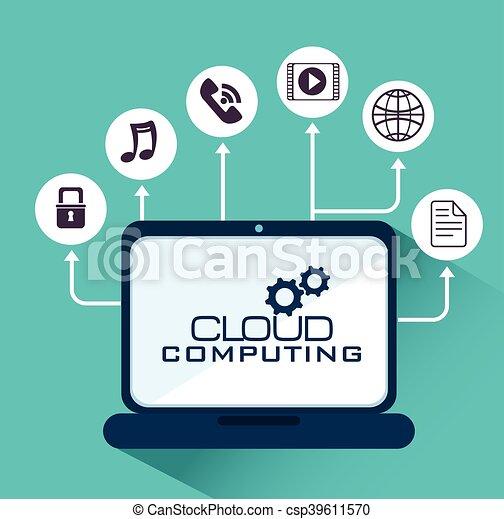 cloud computing data icon - csp39611570
