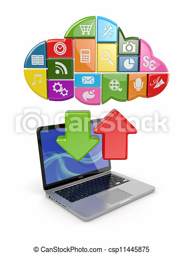 Cloud computing. Laptop and icons software. - csp11445875
