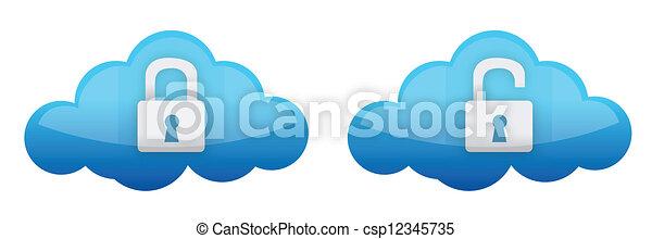 cloud computing lock and unlock - csp12345735