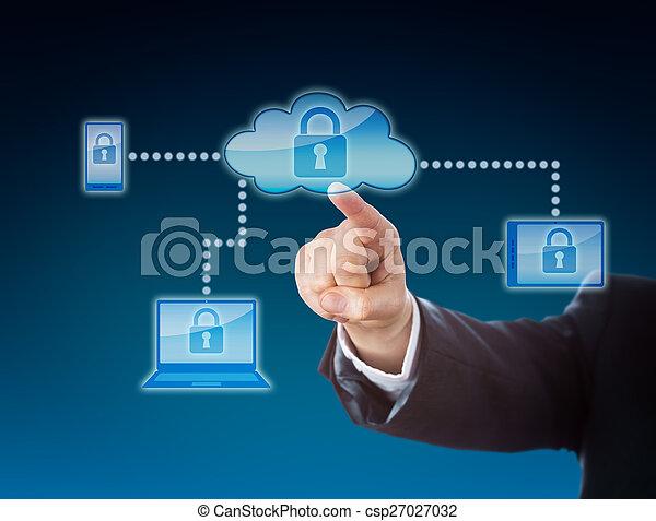 Cloud Computing Security Metaphor In Blue - csp27027032