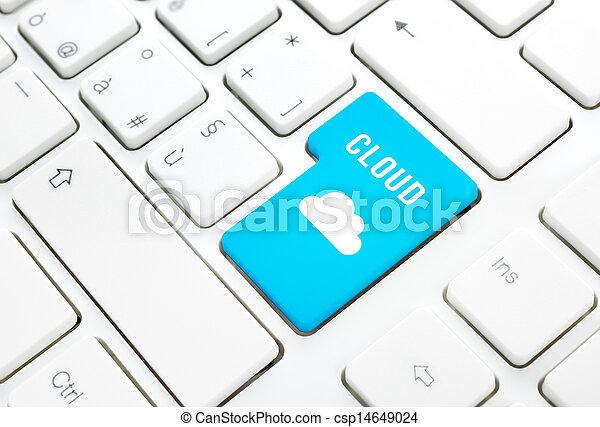 Cloud computing technology concept. Key on white keyboard - csp14649024