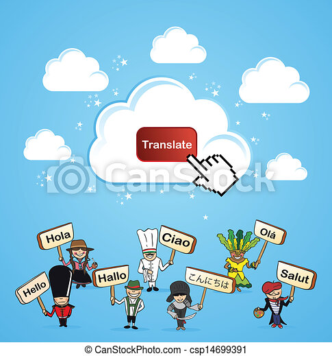 Cloud computing translate concept - csp14699391
