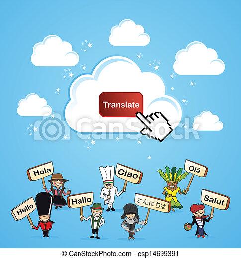 Cloud computing translate concept - csp14699391