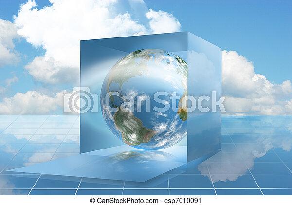 Cloud computing world in a dropbox - csp7010091