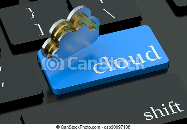 Cloud concept on blue keyboard button - csp30097108